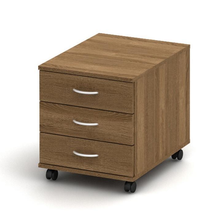 3 fiókos kerekes szekrény, sötét bardolino, TEMPO ASISTENT NEW 016