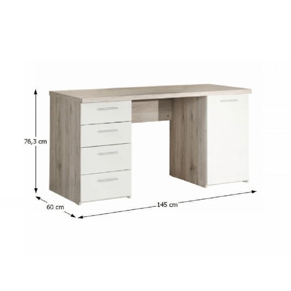 PC asztal, tölgy homokos/fehér, VALERIA