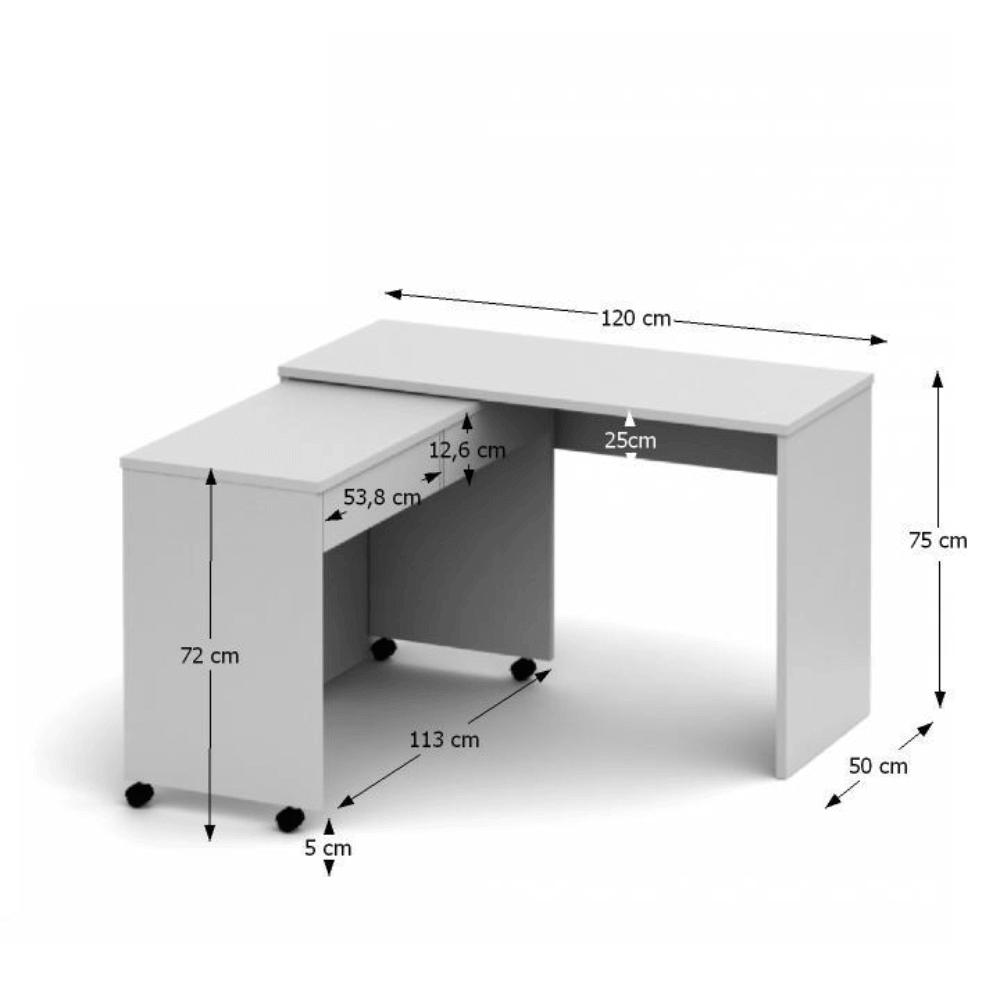 VERSAL NEW - Rozkládací PC stůl se šuplíky, bílá, TEMPO KONDELA