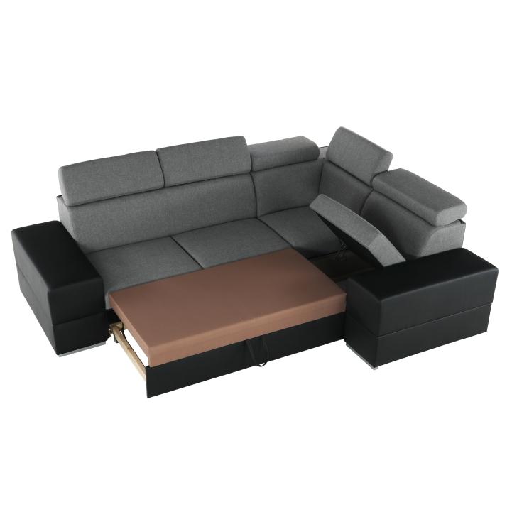 Rozkladacia sedacia súprava, čierna/svetlosivá, pravá, MONAKO ROH MALÝ
