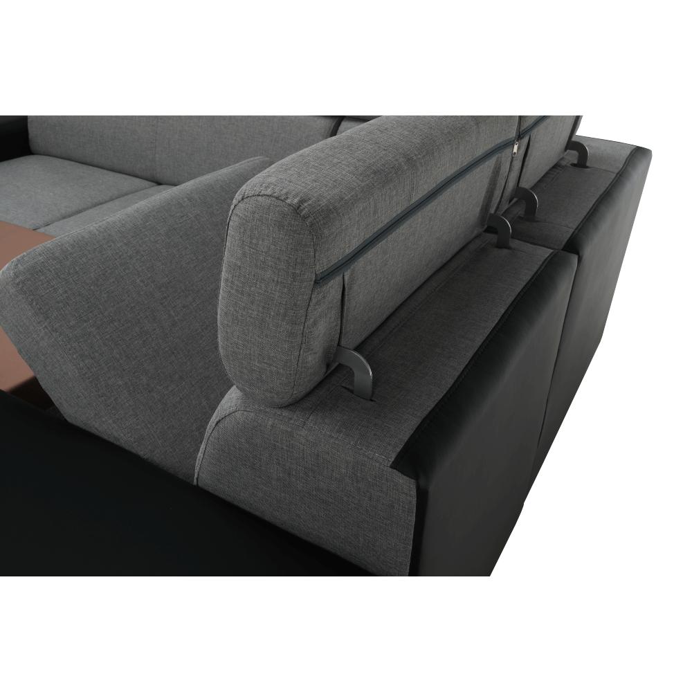 Rozkládací sedací souprava, černá / světle šedá, pravá, MONAKO ROH MALÝ, TEMPO KONDELA