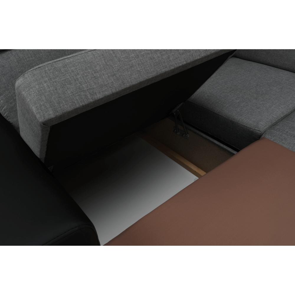 Rozkládací sedací souprava, černá / světle šedá, levá, MONAKO ROH MALÝ, TEMPO KONDELA