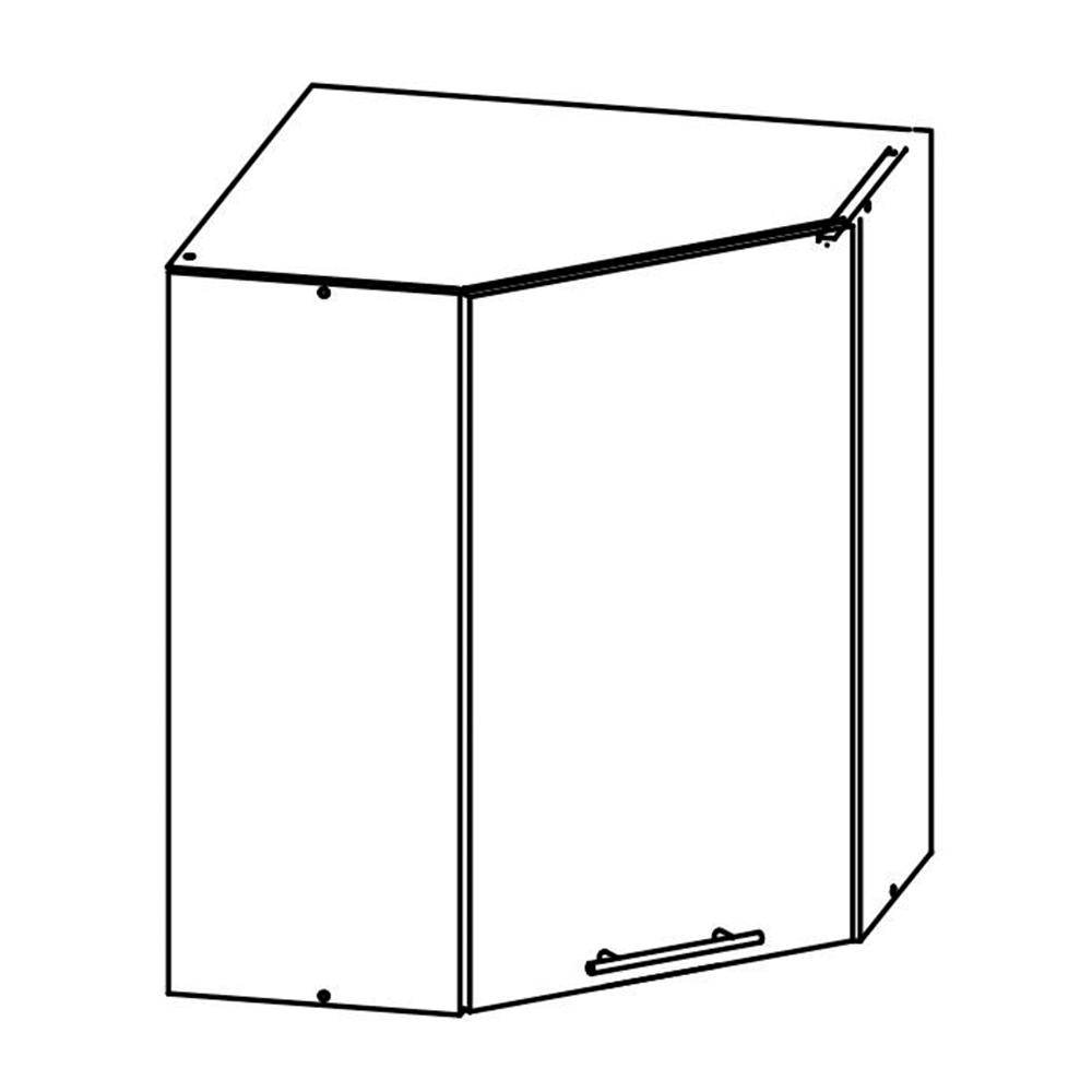 Felső sarokszekrény, sonoma tölgyfa/fehér, FABIANA W - 60N