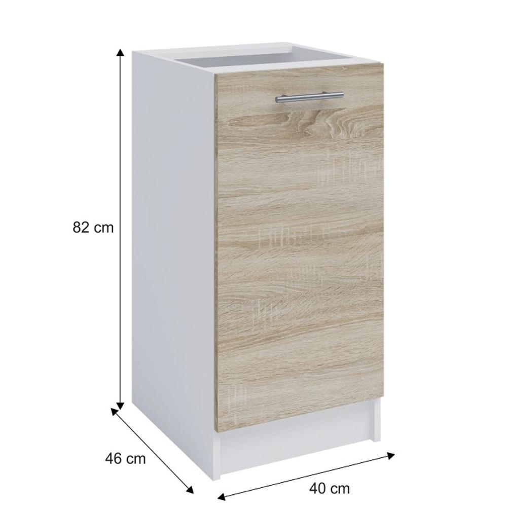 Dolní skříňka, dub sonoma / bílá, FABIANA S - 40, TEMPO KONDELA