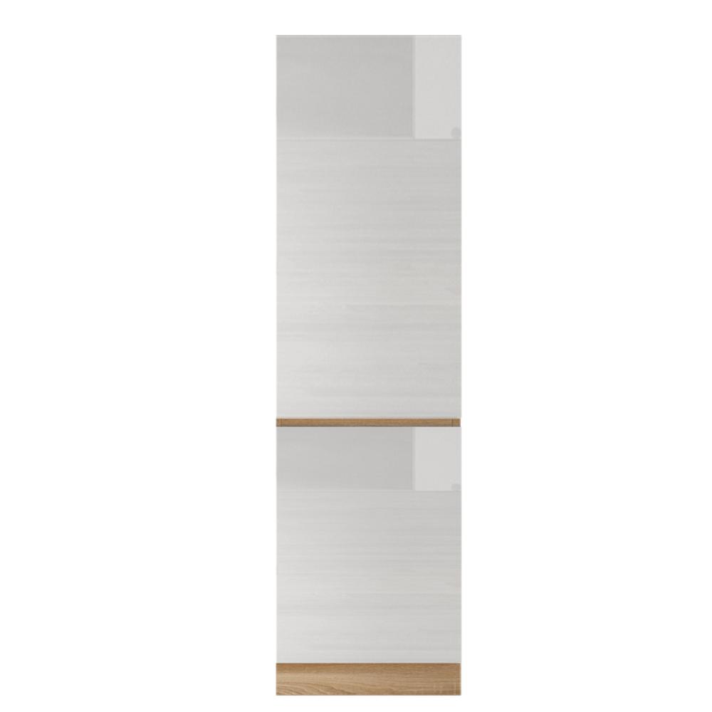 Potravinová skříňka D 60, vysoký bílý lesk/dub sonoma, LINE, TEMPO KONDELA