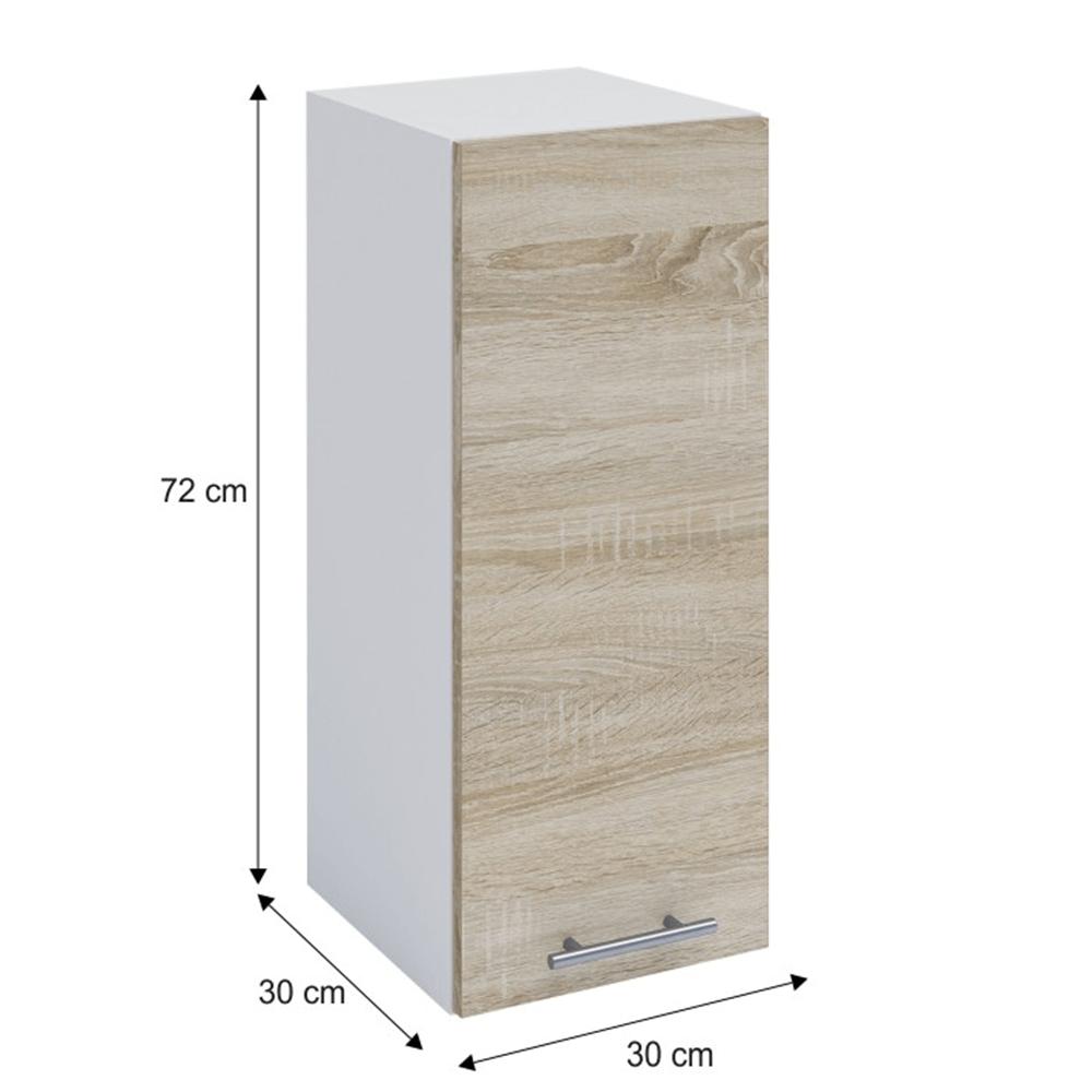 Horní skříňka, dub sonoma / bílá, FABIANA W - 30, TEMPO KONDELA