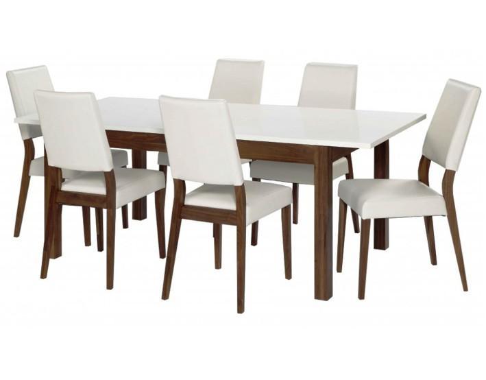 TEMPO KONDELA Jedálenský set 1+6, biela/čokoládová hnedá LARA - Tempo nábytek