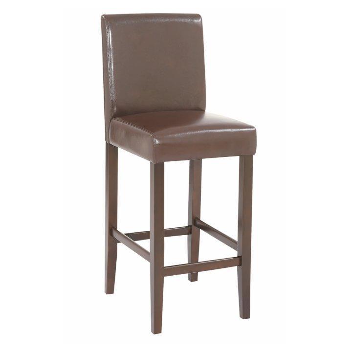 Barová stolička, tmavo hnedá ekokoža/tmavý orech, MONA NEW
