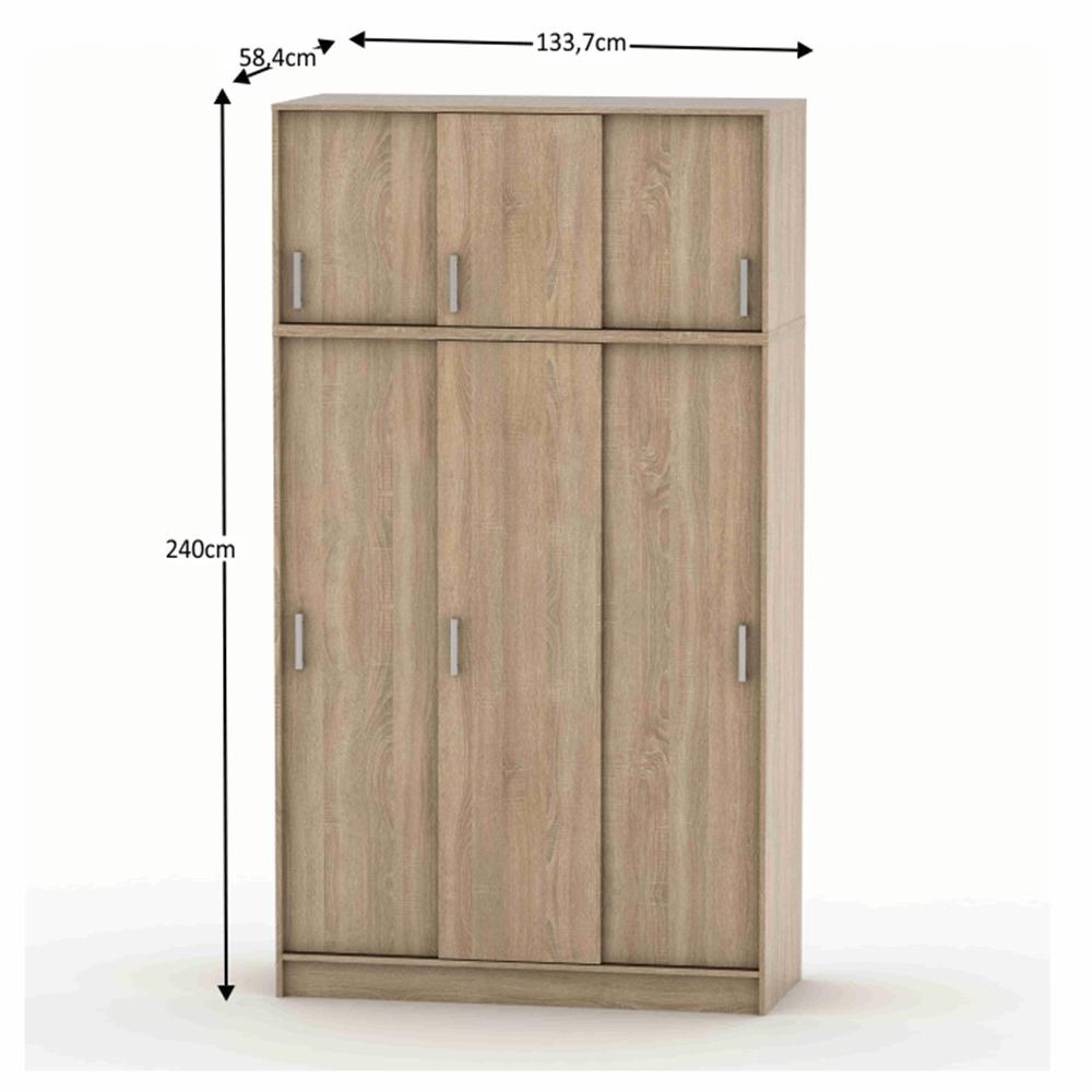 3 ajtós szekrény tolóajtóval és felső szekrénnyel sonoma tölgy BETTY 4 BE04-010-00