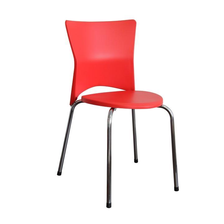 Stolička jedálenská, chróm+plast, červená, BRISA