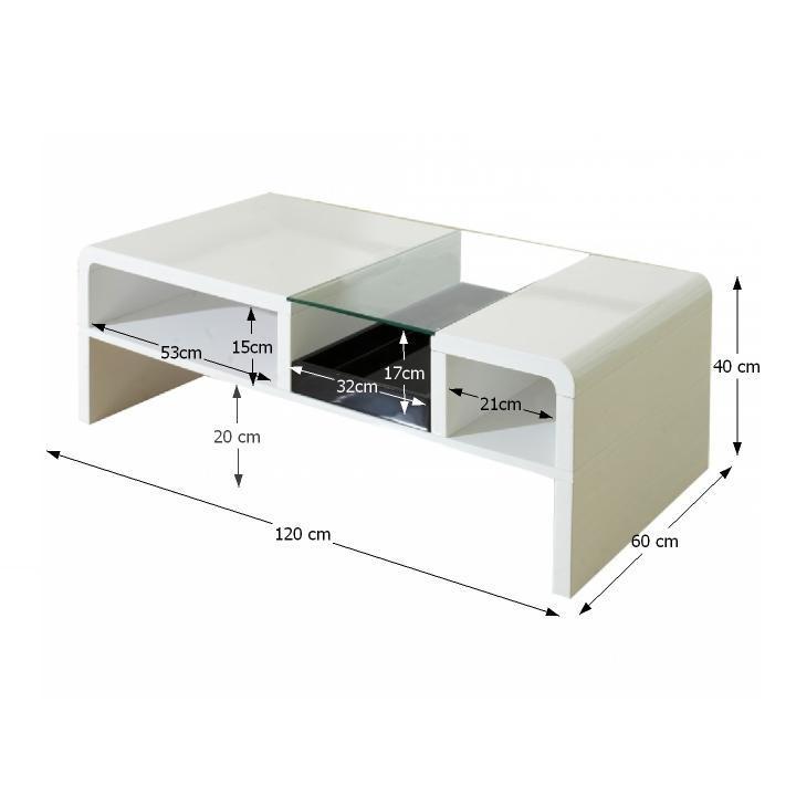 TEMPO KONDELA Konferenčný stolík, biela/sklo, SHAPE - Tempo nábytek