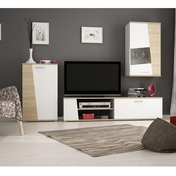 Obývacia stena, dub sonoma/biela, PISA