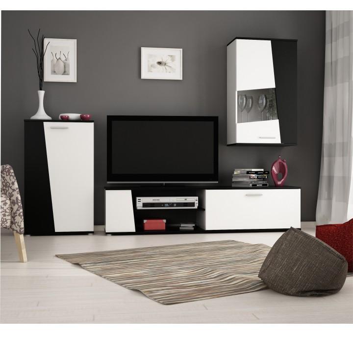 Obývacia stena, čierno/biela, PISA