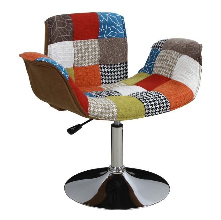 Fotel, króm/patchwork, ROXY