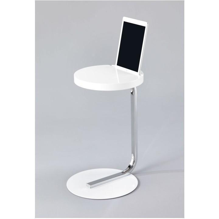 Asztal táblagép tartóval, MDF+fém+króm(fehér), MILANA