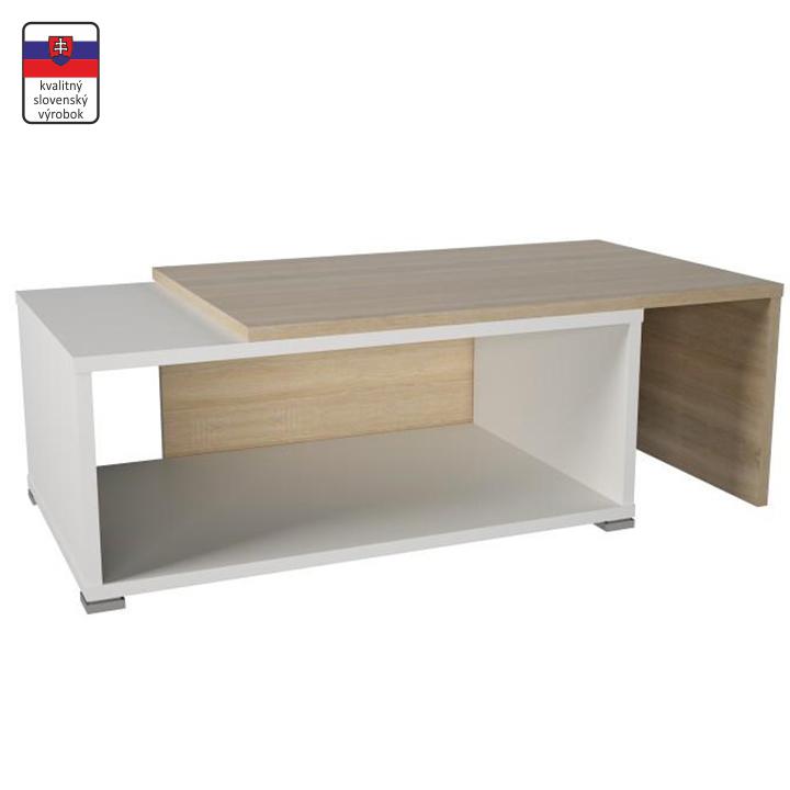 TEMPO KONDELA Konferenčný stolík, rozkladací, dub sonoma/biela, DRON