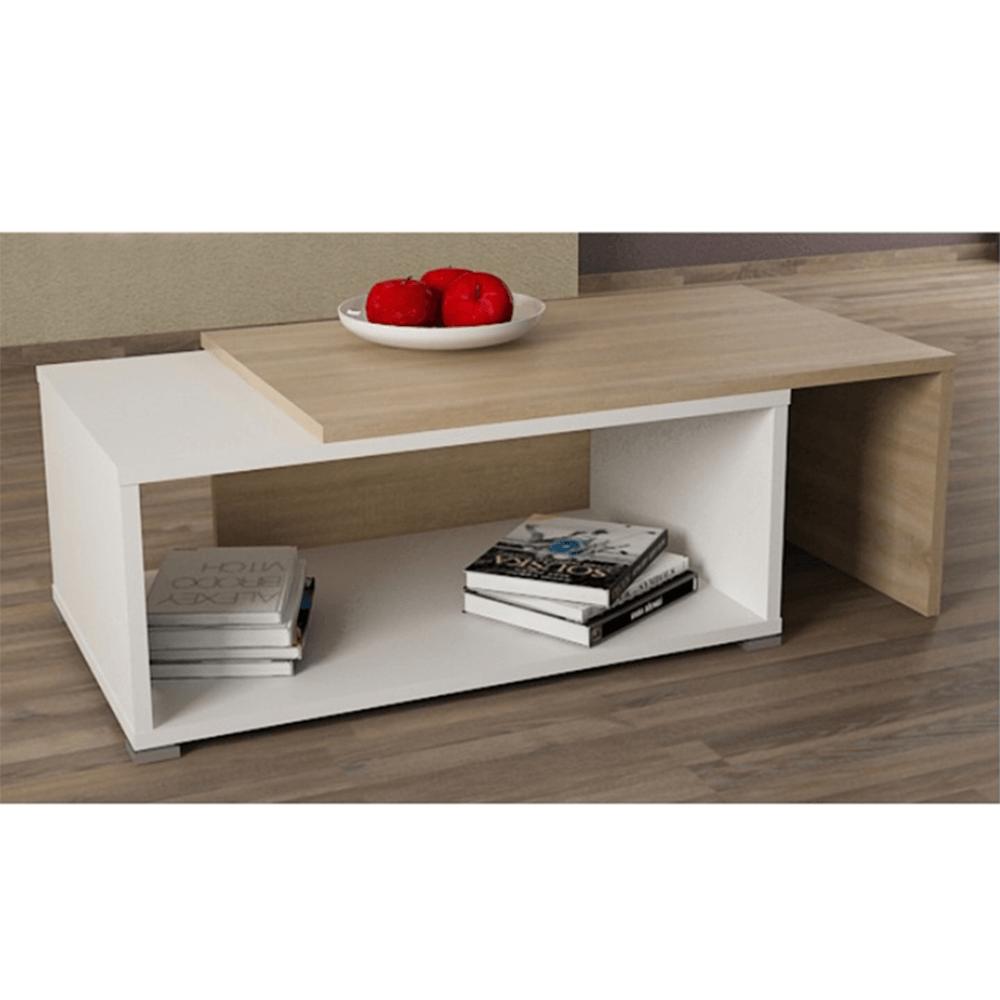 Konferenční rozkládací stolek, dub sonoma / bílá, DRON, TEMPO KONDELA