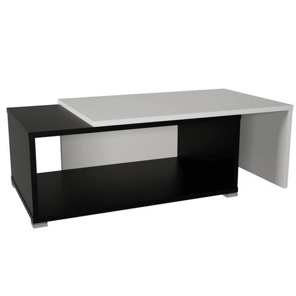 Konferenčný rozkladací stolík, čierna/biela, DRON