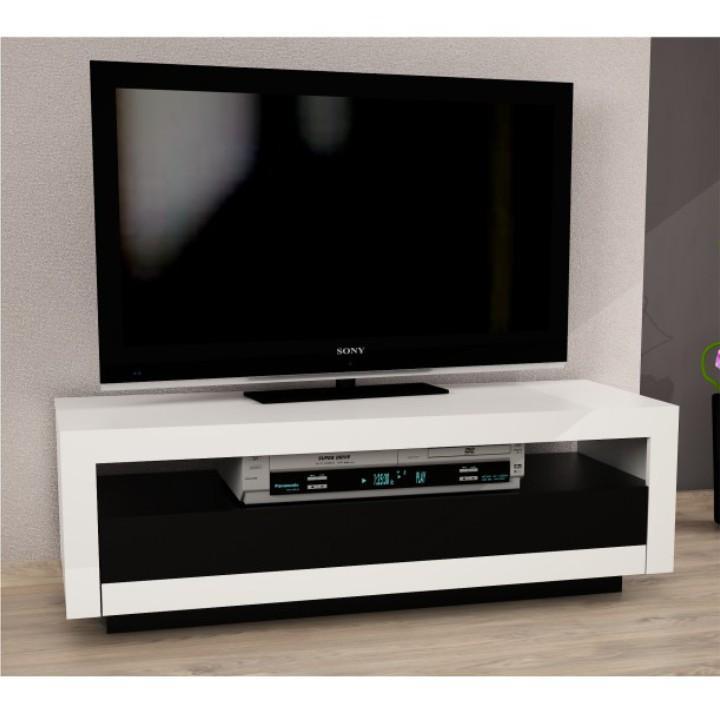 TV stolík/skrinka, biela/čierna, AGNES
