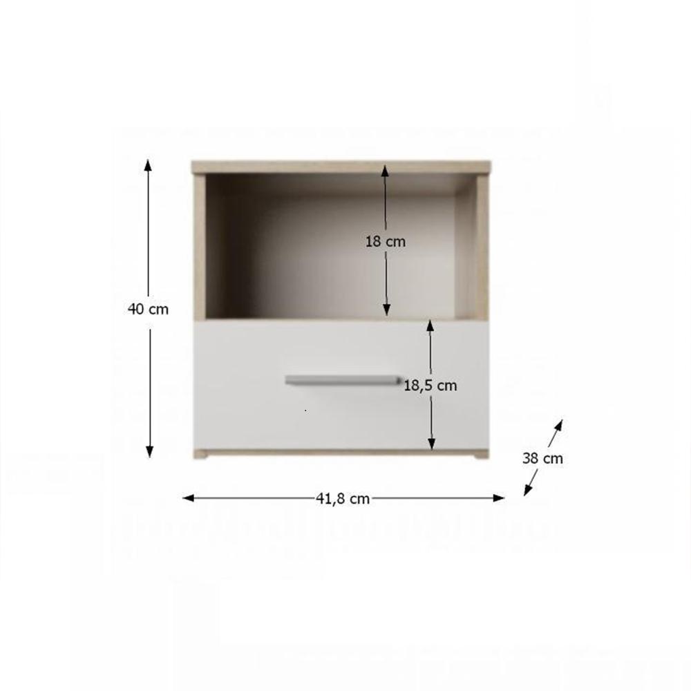 Noční stolek, 2 ks, dub sonoma / bílá, GABRIELA, TEMPO KONDELA
