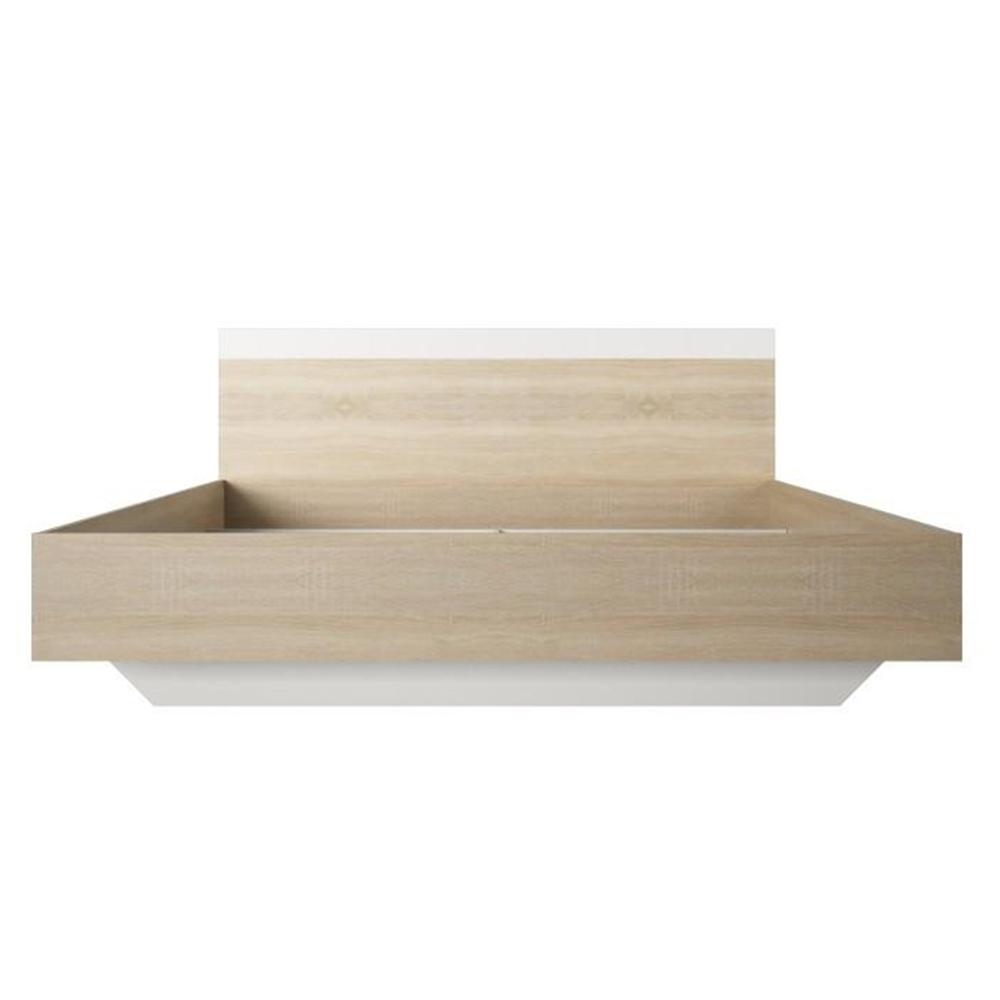 Ágy 180x200, sonoma tölgyfa/fehér, GABRIELA
