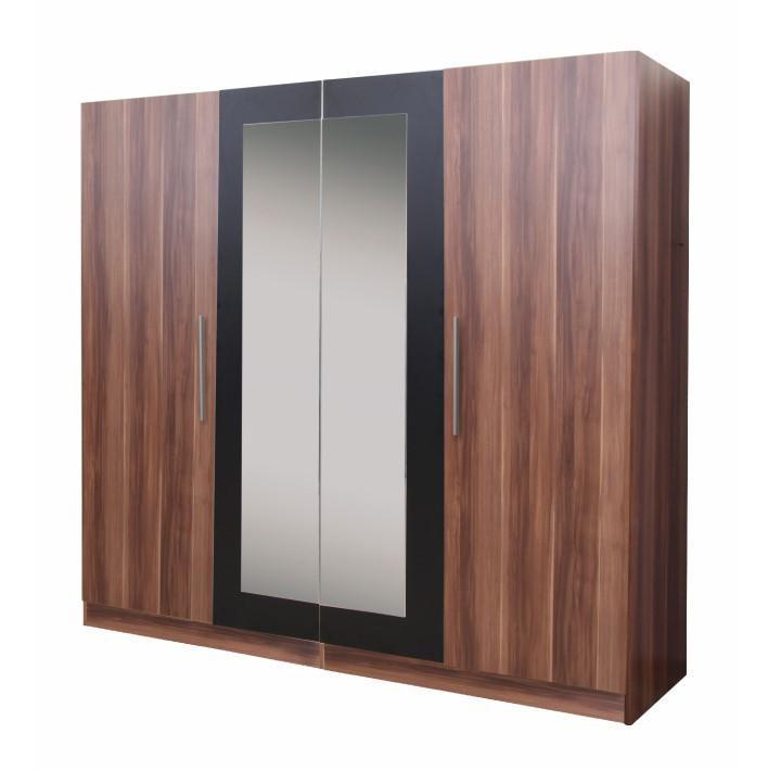 Kombinovaná skriňa so zrkadlom, slivka/čierna, MATISA