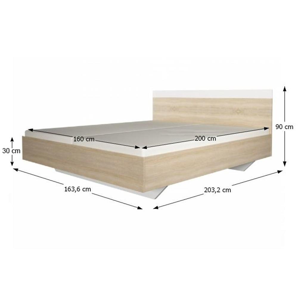 Manželská postel, 160x200, dub sonoma / bílá, GABRIELA, TEMPO KONDELA