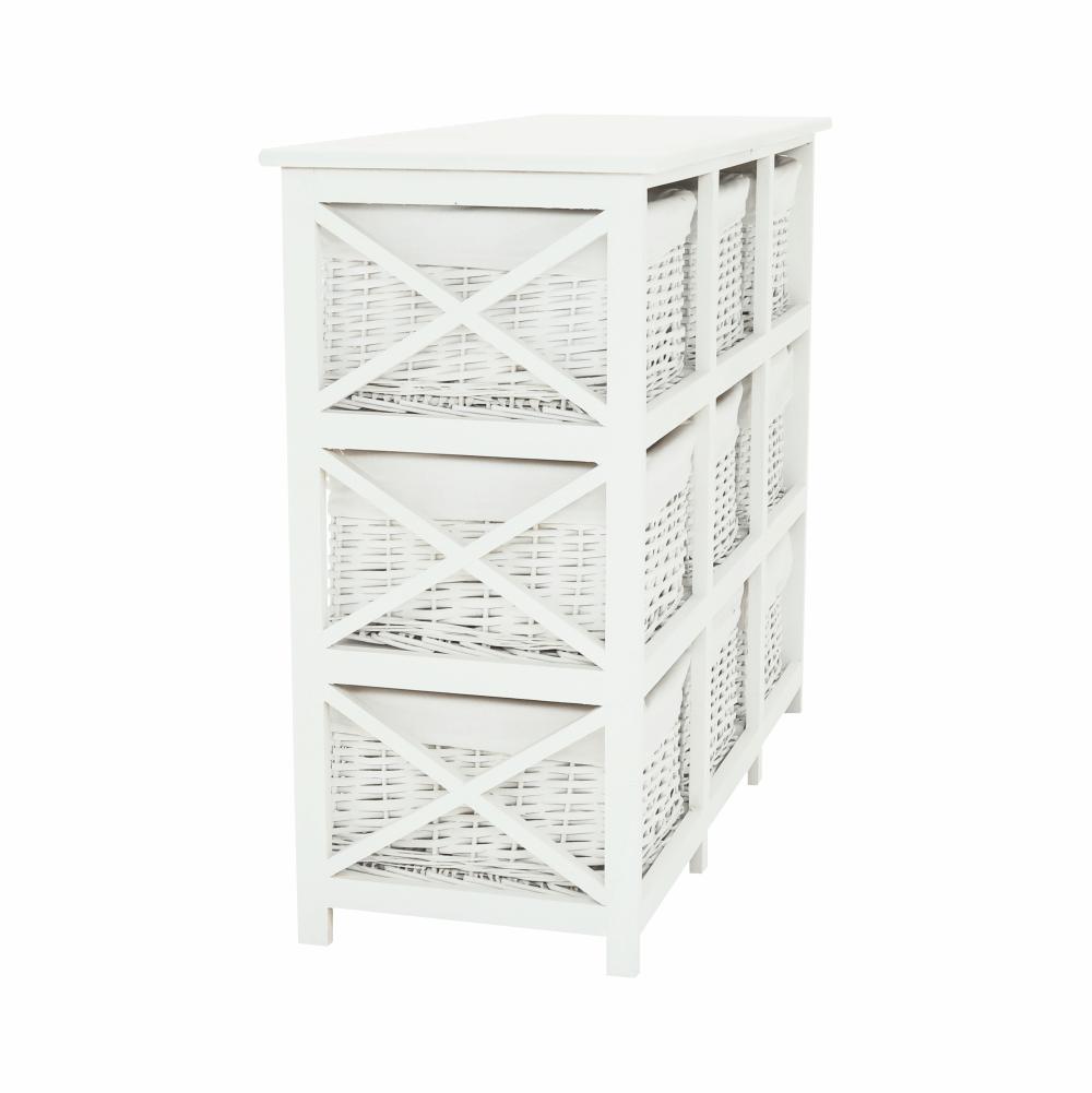 Komoda, dřevo / proutí / látka, bílá, Rafaello 9