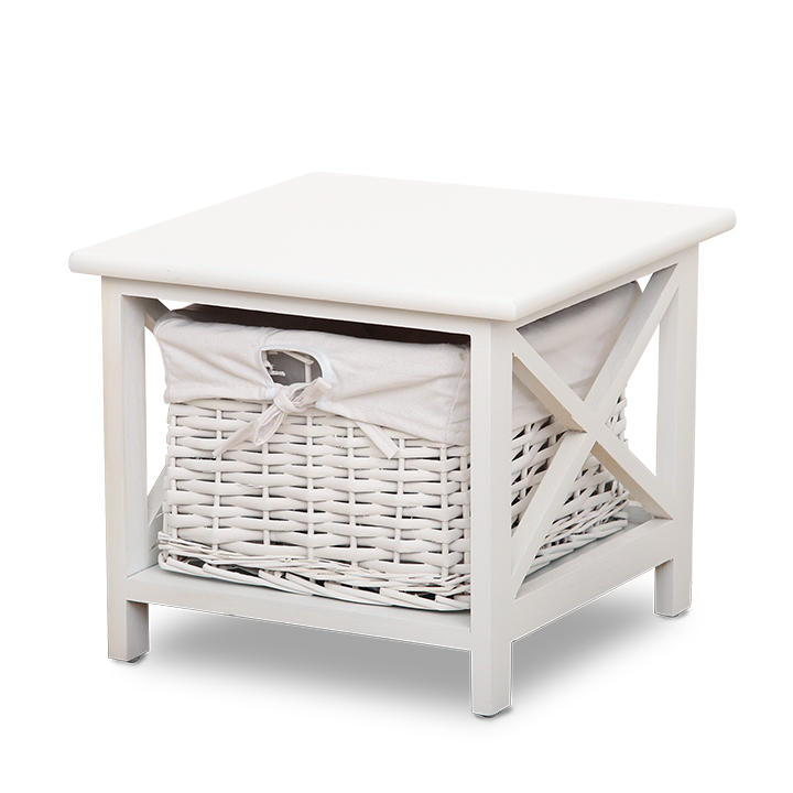 Nočný stolík, 1 košík, biela, RAFAELLO