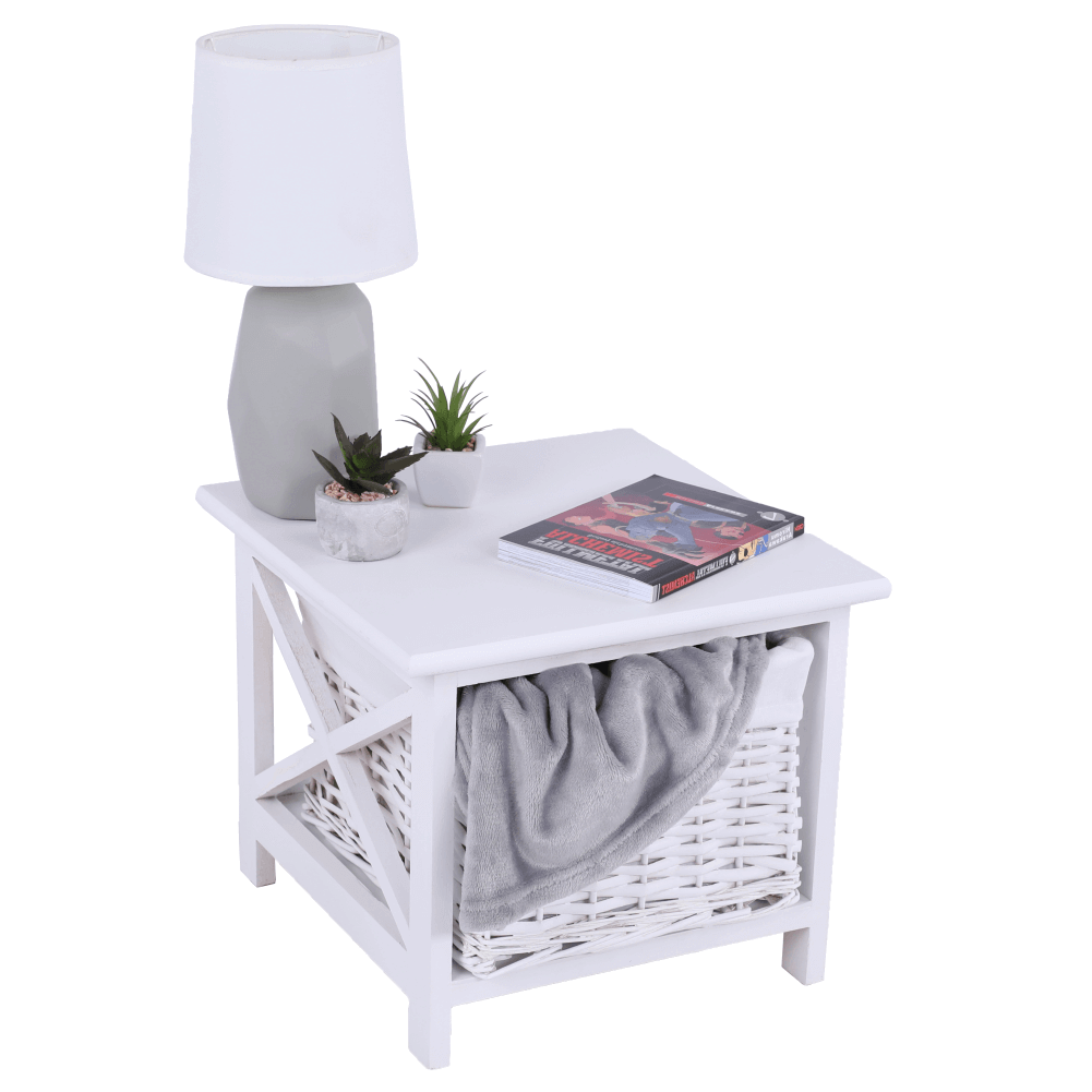 Nočný stolík, drevo/prútie/látka, biela, RAFAELLO