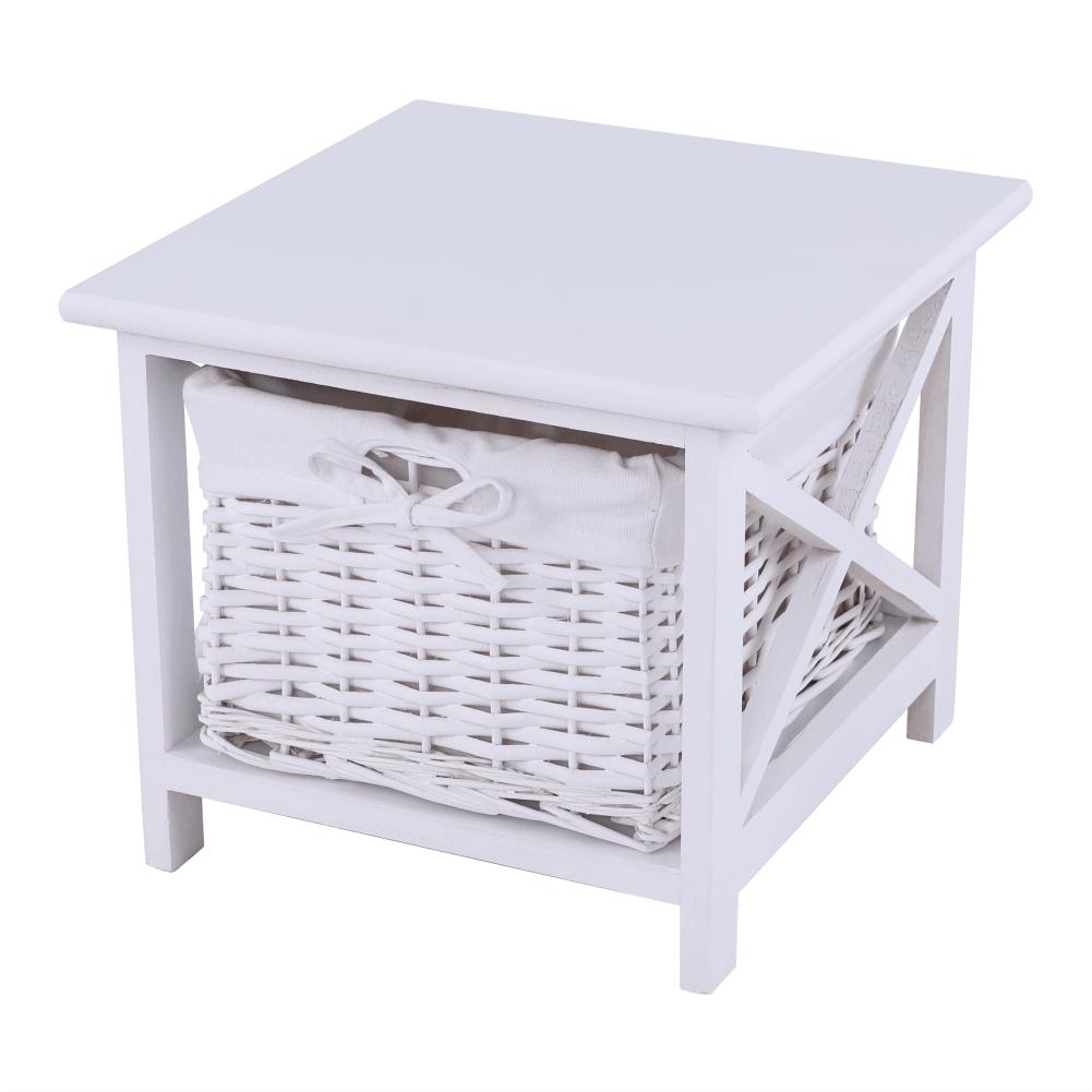 Noční stolek, dřevo / proutí/látka, bílá, Rafaello