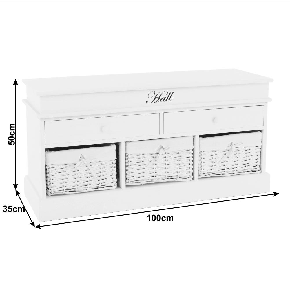 Lavice s úložným prostorem, bílá, BLANCO