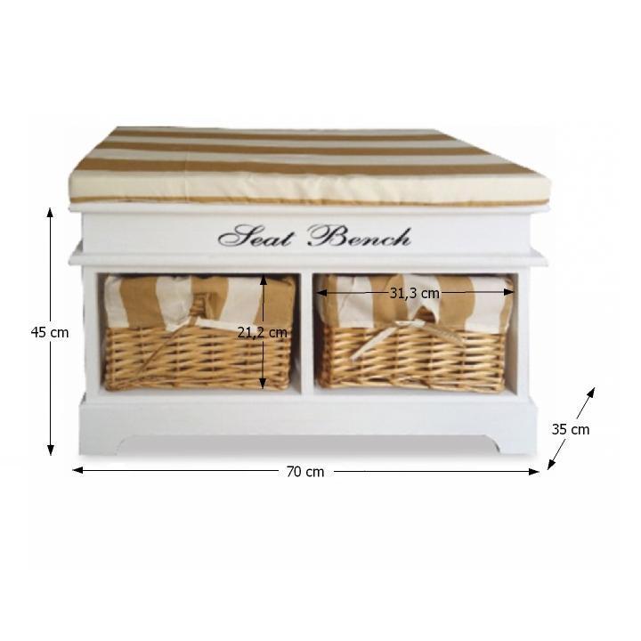 Praktikus pad2 fonott kosarakkal, díszpárnával,fehér/mézes, SEAT BENCH 4