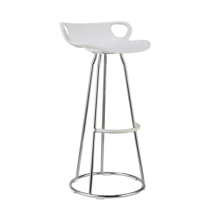 Barová stolička, biela/chróm, GLADI