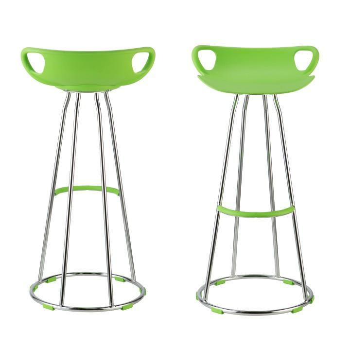Obrázok TEMPO KONDELA Barová stolička, zelená/chróm, GLADI