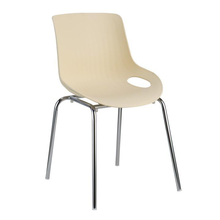 Jedálenská stolička, béžová/chróm, EDLIN