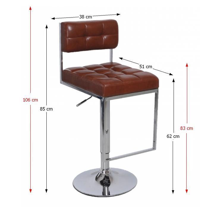 TEMPO KONDELA Barová stolička, ekokoža hnedá/chróm, GORDY - Tempo nábytek