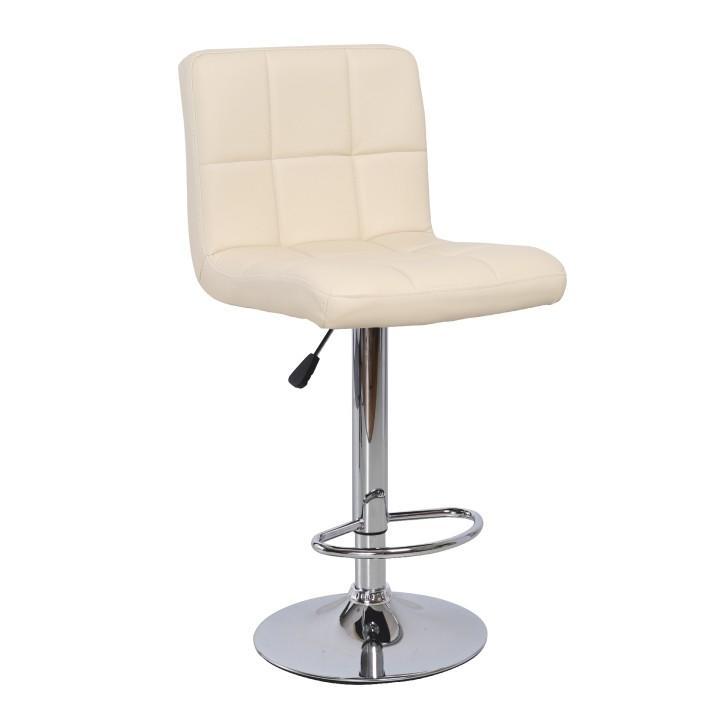 Barová stolička, ekokoža béžová/chróm, KANDY