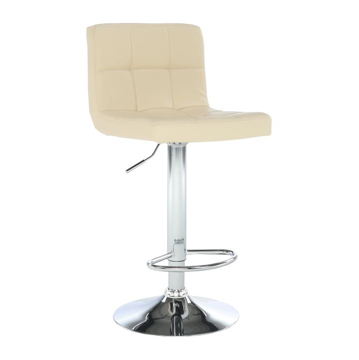 Barová stolička, béžová ekokoža/chróm, KANDY