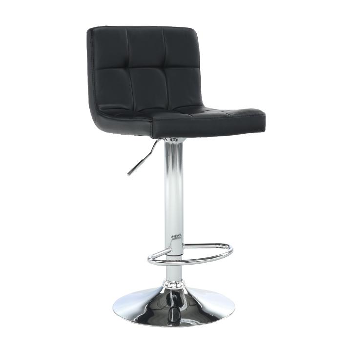 Barová stolička, čierna ekokoža/chróm, KANDY