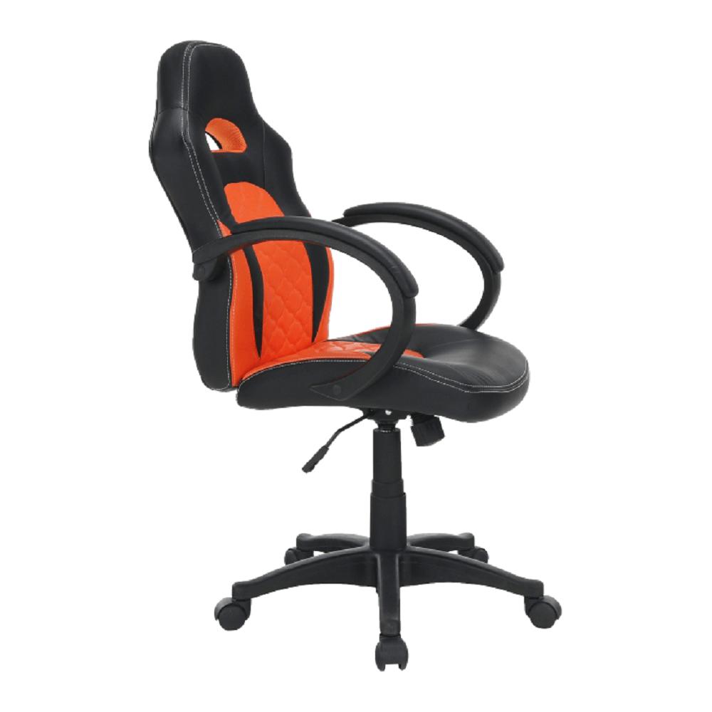 Kancelářské křeslo, ekokůže černá / ekokůže oranžová, NELSON, TEMPO KONDELA