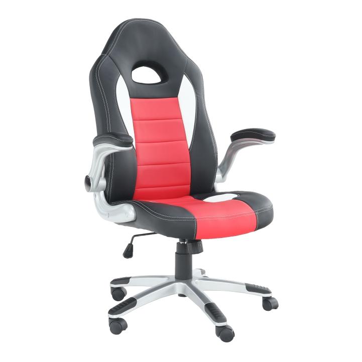 Fotoliu de birou, piele ecologică negru/roşu, MARVIN
