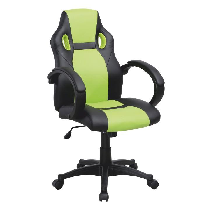 Kancelárske kreslo, ekokoža čierna/zelená, LESTER