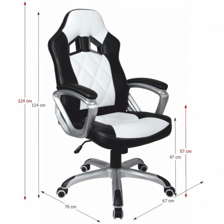 Irodai szék, fekete textilbőr/fehér textilbőr, LOTAR