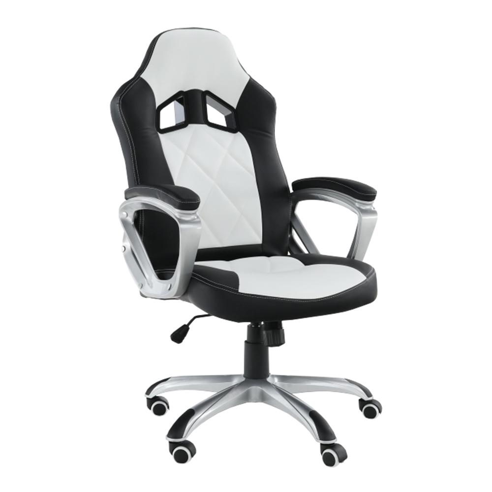 Fotoliu de birou, piele ecologică negru/alb, LOTAR