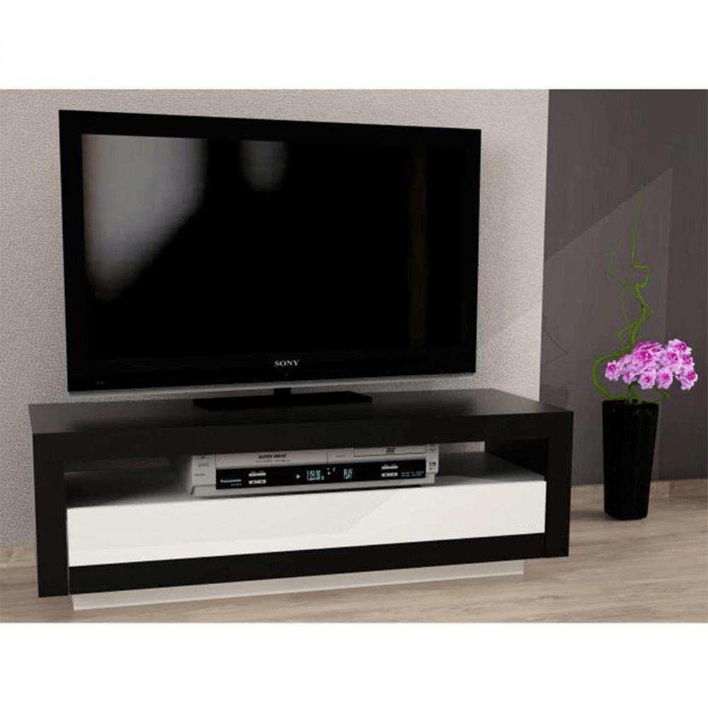 TV asztal/szekrény, fekete/ fehér AGNES
