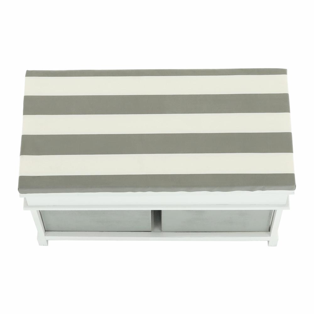 Lavice s polštářem, bílá / šedá, SEAT BENCH 2 NEW HX12-284, TEMPO KONDELA