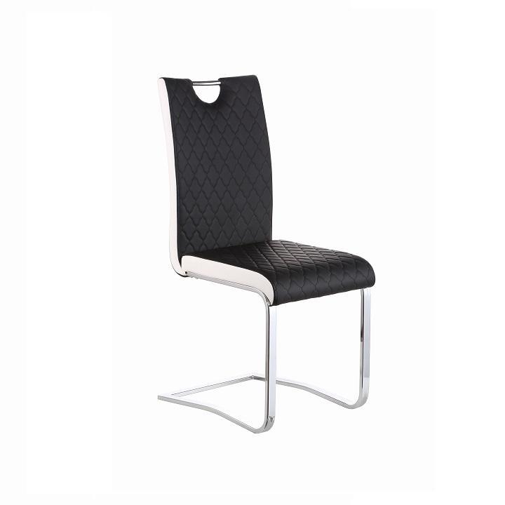 Jedálenská stolička, Ekokoža Čierna, Biela/chróm, IMANE