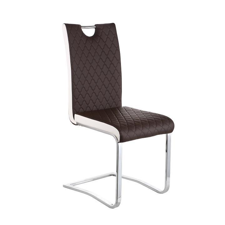 Jedálenská stolička, Ekokoža Hnedá, Biela/chróm, IMANE