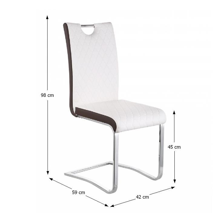 TEMPO KONDELA Jedálenská stolička, Ekokoža Biela, hnedá/chróm, IMANE - Tempo nábytek